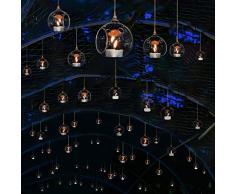 Hängende Glaskugeln 80MM Glas Pflanzen Terrarium Teelichthalter, Kerzenhalter zum Aufhängen,, Christbäume Glaskugel Luftpflanzen Topf Container für Hochzeiten Partyzubehör (75, Mit 2 Löchern)