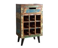 Sit Möbel Miami 5237-98 Weinregal mit 1 Schublade & Ablage für 9 Flaschen, recyceltes Altholz, bunt lackiert, 80 x 35 x 120 cm