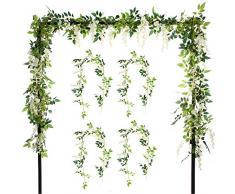 Felice Arts 2 Pcs Künstliche Blumen 6.6 ft/Stück Seide Wisteria Ivy Vine Grün Leaf Hängende Girlande Vine für Hochzeit Party Hause Garten Wand Dekoration Violett