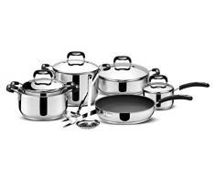 Lagostina Paolo Rossi Lively Akku 13-teilige Kochtopf-Set aus Edelstahl 18/10 Triple Bottom Stahl und Aluminium
