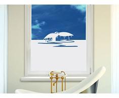 Graz Design 980159_100x57 Sichtschutzfolie Fenstertattoo Fensteraufkleber Deko für Badezimmer Wal Walflosse Wasser (Größe=100x57cm)