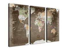 Lana KK - Weltkarte Used mit Kork Rückwand - edel Leinwand Bild Kunstdruck auf Keilrahmen, Pinnwand für Weltenbummler 150 x 100 cm, dreiteilig