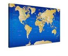 Lana KK - Weltkarte Blau mit Kork Rückwand - edel Leinwand Bild Kunstdruck auf Keilrahmen, Pinnwand für Weltenbummler 120 x 80 cm, einteilig