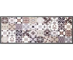 oKu-Tex Fußmatte | Schmutzfangmatte | Mosaik Muster Bunt | Deco-Style | Türvorleger für innen | rutschfest | grau/beige | 45x120 cm