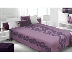 Eurofirany Tagesdecke Bettüberwurf Steppdecke Überwurf Muster Schlafzimmer Wohnzimmer Kinderzimmer Couchdecke Decke, Baumwolle, Violett, 220x240cm