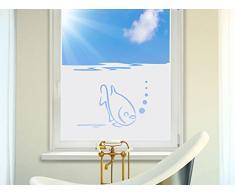 Graz Design 980158_100x57 Sichtschutzfolie Fenstertattoo Fensteraufkleber Deko fr Badezimmer Fisch Blasen Unterwasser (Gre=100x57cm)