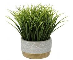 Flair Flower Zement-Topf, Künstliches Gras, Kunst-Pflanze, Kunststoff, grün, 24 cm hoch, 16 cm breit