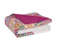 DecoKing 77184 Tagesdecke 240x260 cm rosa violett weiß bunt anthrazit Bettüberwurf zweiseitig colourful pink white violet Steppung Bibi