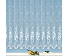 heimtexland Gardine Edler Jacquard Store in Florentiner Optik Vorhang reinweiß mit Blumen Wunschmaß geprüfte hochwertige Qualität mit weichfliesendem Fall ...auspacken, aufhängen, fertig! Typ261