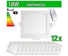 LEDVero 12x Ultraslim LED Panel SMD 2835, 18 W, eckig Deckenleuchte Lampe Einbau Leuchte Licht Strahler, kaltweiß SP224