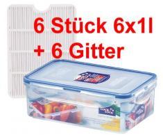 LOCK & LOCK Set HPL817TS6 6 x 1 l, 6 x Aufbewahrungsboxen Multifunktionsboxen, Frischhaltedosen