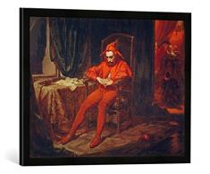 Gerahmtes Bild von Jan Matejko Hofnarr Stanczyk, Kunstdruck im hochwertigen handgefertigten Bilder-Rahmen, 70x50 cm, Schwarz matt