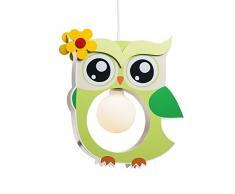 Elobra Kinderlampe Deckenleuchte Hängeleuchte Eule, Kinderzimmer, Holz, lindgrün, A++