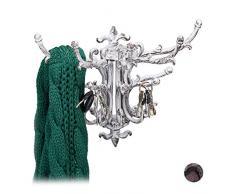 Relaxdays Wandgarderobe Vintage, 5 Kleiderhaken schwenkbar, Landhausstil, Gusseisen, HBT 28,5 x 35,5 x 19 cm, altweiß