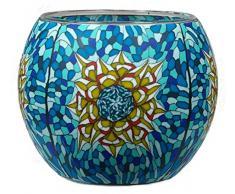 Himmlische Düfte Geschenkartikel CC219 Tischdekoration, Tiffany Star Windlicht Glas 11 x 11 x 9 cm, bunt