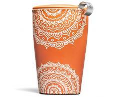 Tea Forté KATI Tasse Keramik Tee Brühtasse mit Sieb Korb und Deckel zum Streichen, Lose Leaf Tee, Chakra
