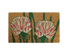 JVL Fußmatte Garten Mottoparty Rückseite Natur Eingangstür mat-Flower Design, 45 x 75 cm, Kokosfaser + Latex, braun, 45 x 75 x 1,5 cm