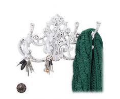 Relaxdays Garderobenleiste Vintage, 4 Kleiderhaken, Landhausstil, Gusseisen, H x B x T: 20,5 x 34 x 12,5 cm, antik weiß