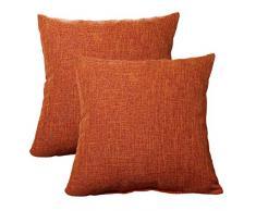 ALHXF Kissenbezug, 2 Stück, Jute, Leinen, Überwurf, 55,9 x 55,9 cm, dekorativ, quadratisch, Kissenbezüge, für den Außenbereich, handgefertigt, mit unsichtbarem Reißverschluss für Sofa, Couch, Bett, Auto, Camping Art Deco 22X22 2 Stück in Orange