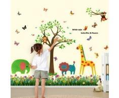 Walplus - Bunte Schmetterlinge Gras Tiere Affe Kinderzimmer Wand Aufkleber Papier Mauerkunst Sticker Dekoration