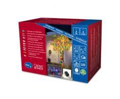 Konstsmide 3630-500 Micro LED Lichterkette/für Außen (IP44) / 24V Außentrafo/mit 8 Funktionen, Steuergerät und Memoryfunktion / 80 bunte Dioden/schwarzes Kabel