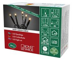 Konstsmide 6351-820 Micro LED Lichterkette / für Innen (IP20) / VDE geprüft / 24V Innentrafo / 20 bernsteinfarbene Dioden / schwarzes Kabel