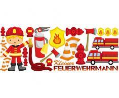 Graz Design 721307_150x57 Wandsticker Aufkleber Wandtattoo Set für Kinderzimmer Jungs Feuerwehrmann (Größe=150x57cm)