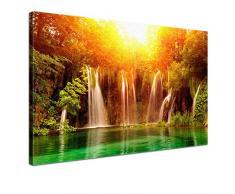 LANA KK - Leinwandbild Dreamland Landschaft auf Echtholz-Keilrahmen – Szenerie und Natur Fotoleinwand-Kunstdruck in orange, einteilig & fertig gerahmt in 100x70cm