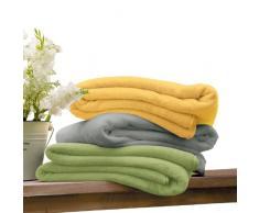 Kuscheldecke s.Oliver 3612 / premium Feecedecke gelb / unifarbene Markendecke 100x150cm / aus hochwerigem Polyester / eingefasst mit einem sehr edelen Band / in sehr vielen modernen Farben erhältlich