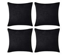 Deconovo Dekokissen Kordsamt Kissenbezüge mit Reißverschluss Überwurf Kissenbezug 45,7 x 45,7 cm für Sofa, 45,7 x 45,7 cm - 4 Stück