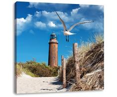 Pixxprint LFQ1041_70x70 Schöner Leuchtturm am Strand Format auf Leinwand, fertig gerahmt mit Keilrahmen, Kunstdruck, kein Poster oder Plakat