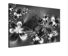 LANA KK - Leinwandbild Blütentraum Silver abstraktes Design auf Echtholz-Keilrahmen – Fotoleinwand-Kunstdruck in grau, einteilig & fertig gerahmt in 120x80cm