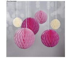 Rayher 87079000 Wabenbälle, Honeycomb, Seidenpapier, 5+8+10cm, Pink/ Rosa / Beige, Hänge- und Tisch Dekoration, passen zu Girlanden und Pompoms bei Geburtstagen, Hochzeiten + Fotoshootings