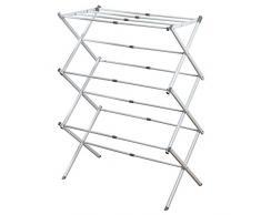 InterDesign 39713EU Brezio Ausziehbarer Wäscheständer für Wirtschaftsküche - 3-stöckig, weiß/grau, Steel, White/Gray, 74,93 x 38,25 x 100,48 cm