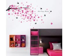 Walplus Wandaufkleber Sticker Kinderzimmer Und Wohnzimmer Blüten Vogel Heimdeko Schwarz