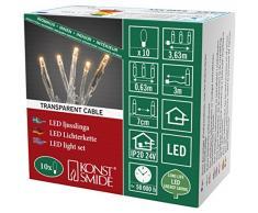 Konstsmide 6350-823 Micro LED Lichterkette / für Innen (IP20) / VDE geprüft / 24V Innentrafo / 10 bernsteinfarbene Dioden / transparentes Kabel