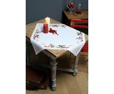 Vervaco PN-0164896 Aida Schwanzmeisen & Beeren Tischdecken Stickset, Baumwolle, mehrfarbig, 80 x 80 cm / 32 x 32