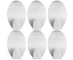 mumbi Handtuchhalter selbstklebend Handtuchhaken ohne Bohren Klebehaken oval Edelstahl 6 Stück