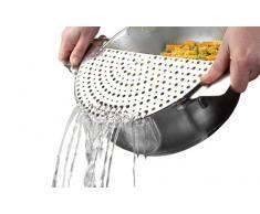 Ibili Sieb für Töpfe 728100, Abtropfhilfe für Kochtöpfe, Siebaufsatz, halbrund, aus Edelstahl, Durchmesser 26 cm