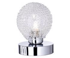 Reality Tischleuchte Touch-Me Wire / chrom, Glas klar mit Aludrahtgeflecht / 1 x G9, 28W Eco / inklusiv Leuchtmittel / 4 Stufen Touch-Dimmer / Höhe: 13,5 cm ø: 10 cm R59321106