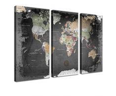 "LANA KK - Weltkarte Leinwandbild ""Weltkarte Graphit"" - deutsch - Kunstdruck-Pinnwand auf Echtholz-Keilrahmen – Globus in schwarz, dreiteilig & fertig gerahmt in 150x100cm"