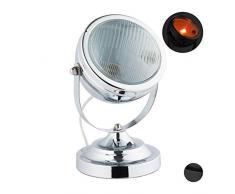 Relaxdays Tischlampe im Scheinwerfer-Look, Vintage-Retro Design, für Wohnzimmer & Loft, Metall, HxD: 26 x 19 cm, silber