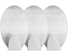 mumbi Handtuchhalter selbstklebend Handtuchhaken ohne Bohren Klebehaken oval Edelstahl 3 Stück