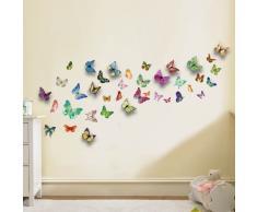 Walplus - Wand Sticker Aufkleber Papier Kunst Dekoration 3D Bunte Schmetterlinge
