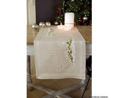 Vervaco PN-0150980 Stickpackung Tischläufer Kreuzstich vorgedruckt, Baumwolle, weiß, 40 x 100 x 0,3 cm