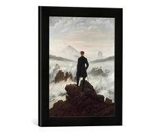 Gerahmtes Bild von Caspar David FriedrichDer Wanderer über dem Nebelmeer, Kunstdruck im hochwertigen handgefertigten Bilder-Rahmen, 30x40 cm, Schwarz matt