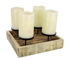Flair Flower 243668N Advents-Kerzenhalter aus Holz Dekoschale Weihnachtsdekoration Kerzenständer Kerzenleuchterschale für 4 Stumpenkerzen, Natur, ca. 25x25X8 cm
