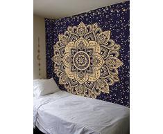 Bless International Tagesdecke / Wandbehang, marineblau, gold, im Hippie-, Ombre-, Mandala-, Boho-Stil, mehrfarbig, Queen-Größe: 215 x 230 cm