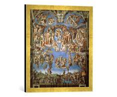 Gerahmtes Bild von Michelangelo BuonarottiDas jüngste Gericht, Kunstdruck im hochwertigen handgefertigten Bilder-Rahmen, 50x50 cm, Gold Raya
