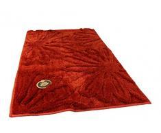 Gözze Badteppich, Mikrofaser Hochflorteppich, 50 x 70 cm, Blume, Rot, 1031-37-050070